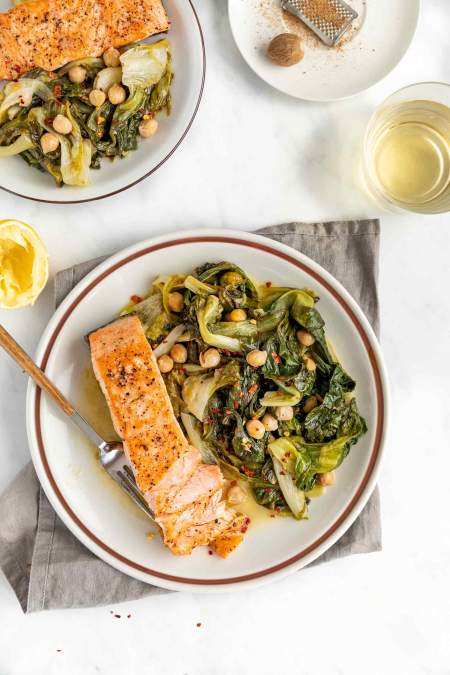 Pan-fried Salmon with Braised Escarole and Chickpeas