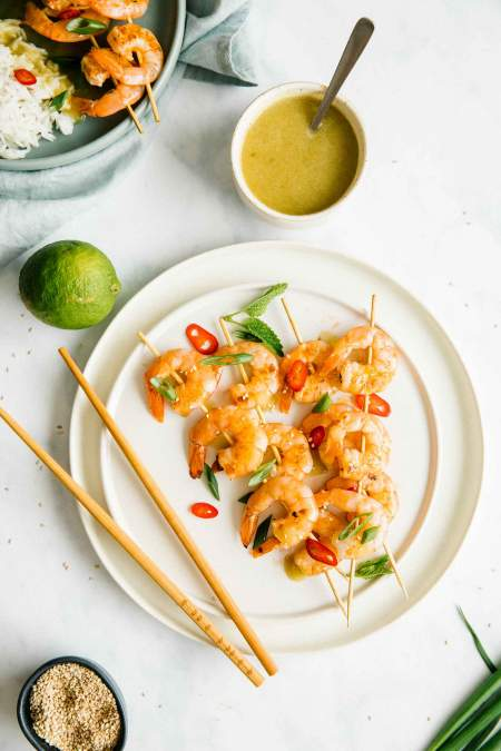 Grilled Shrimp Skewers with Citrus Sauce