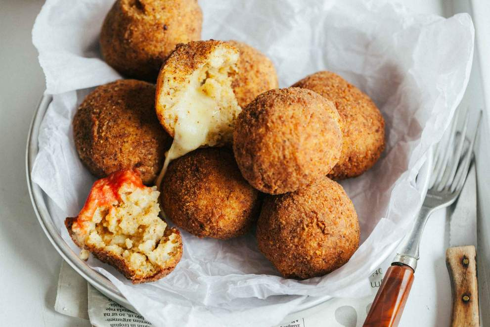 Arancini rice balls with cheese