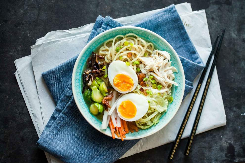 Chicken Ramen with vegetables and homemade noodles