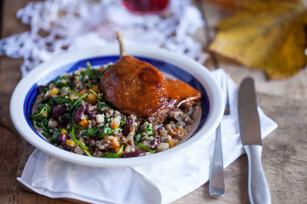 Confit duck leg with legumes stew