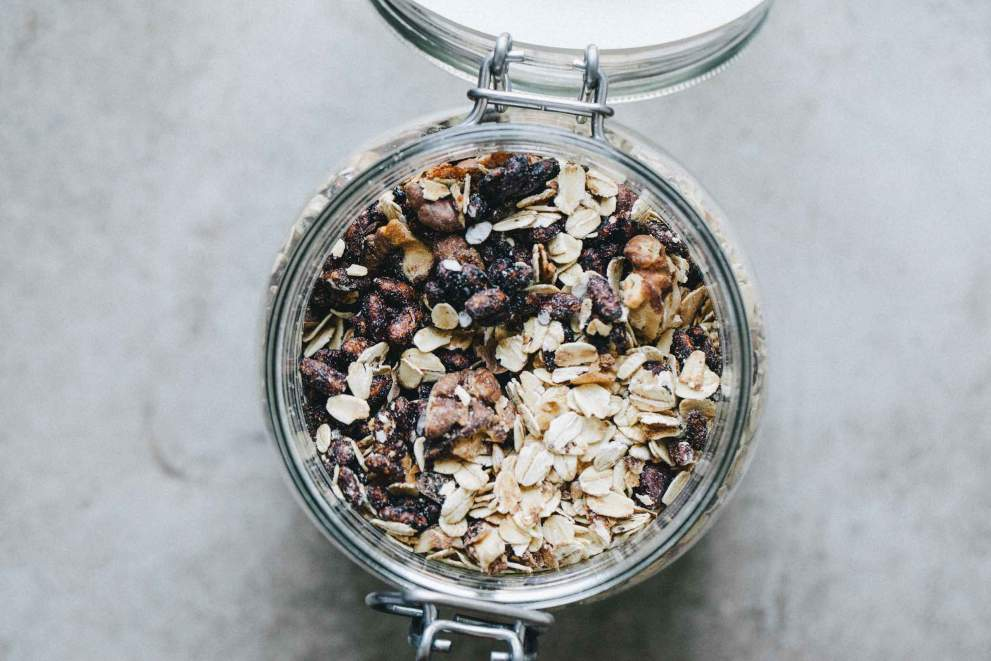 Dark chocolate granola with rice puffs in a jar