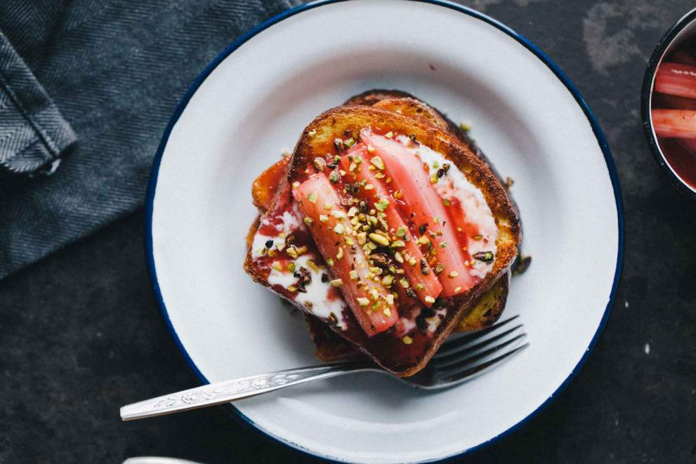 French toast with poached rhubarb and pistachios