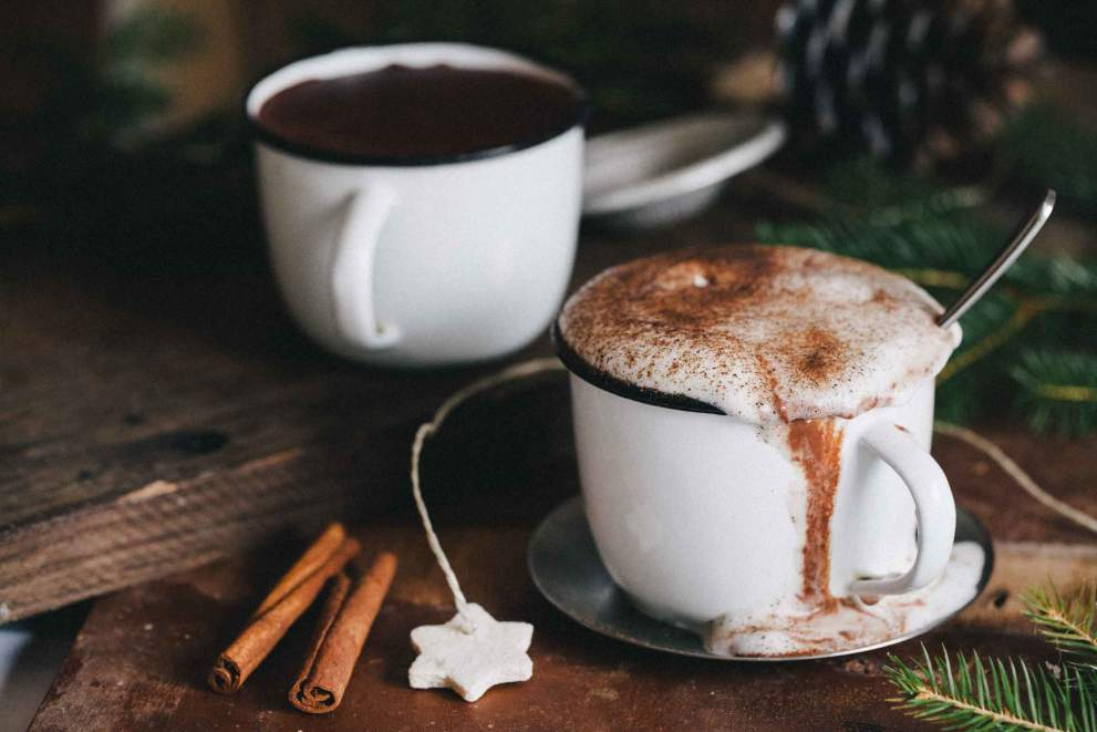 Hot chocolate with caramelized hazelnuts and frothed milk