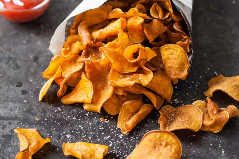 Sweet potato chips with rosemary salt
