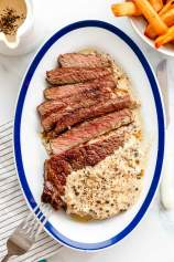 Reverse Sear Ribeye Steak with Peppercorn Sauce