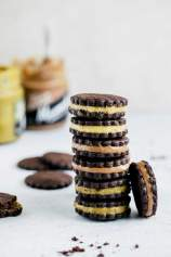 Cacao sandwich cookies with milk spread
