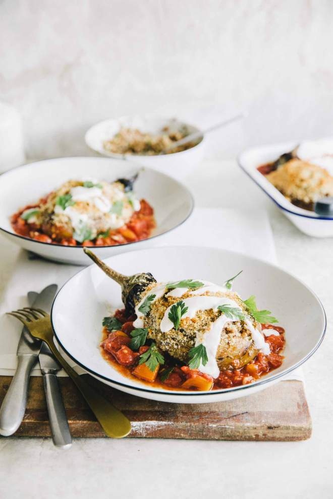 Eggplant with buckwheat, feta cheese and tomato sauce