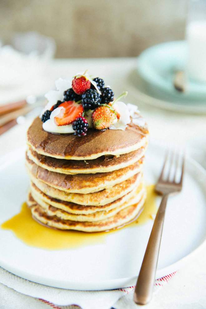 Banana Oat Pancakes - no sugar added with berries and syrup