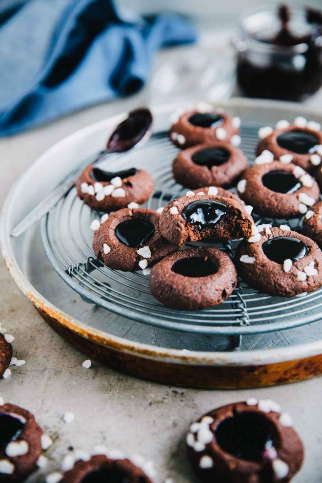 Buckwheat thumbprint cookies with grapes