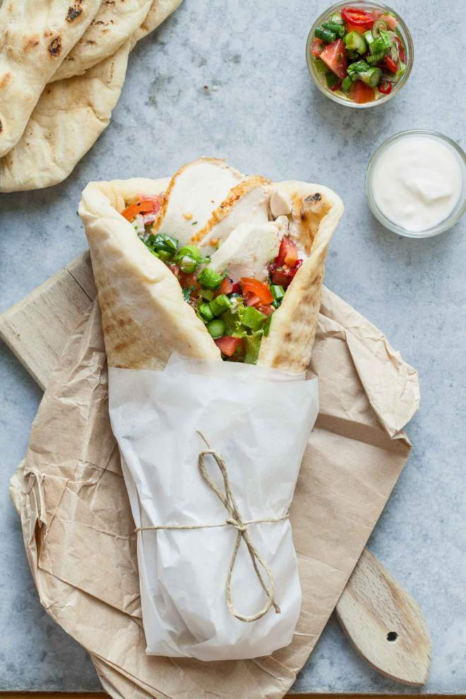Chicken wraps with fresh salsa and yogurt