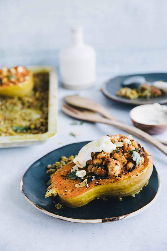 Stuffed Butternut Squash with Lentil Daal