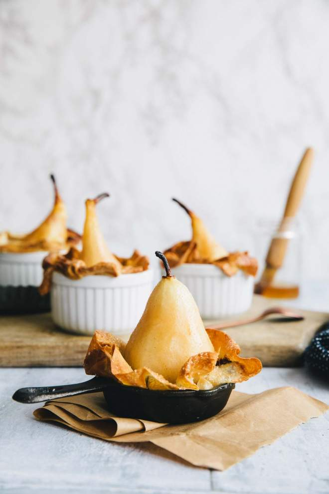 Chocolate stuffed baked pears with phyllo dough