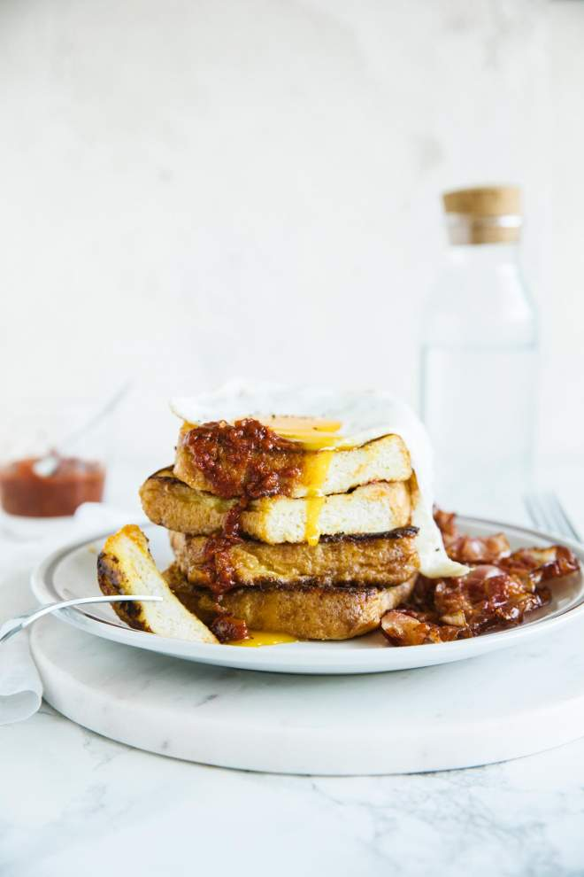 French Toast with Bacon and Hot Sauce