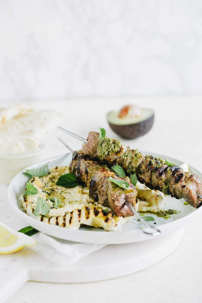 Lamb Skewers with Mint Sauce