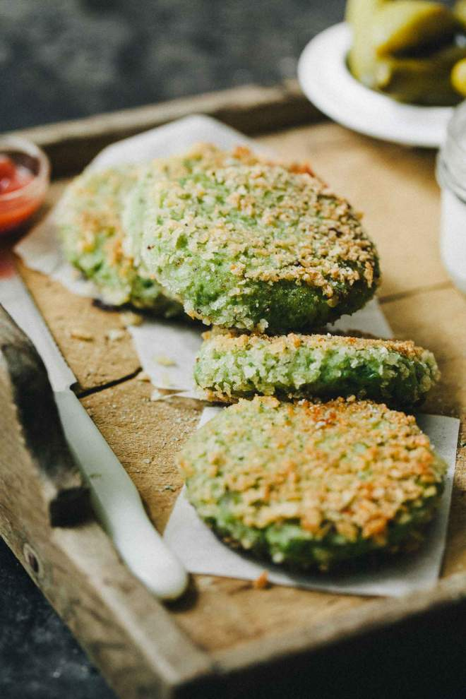 Cooked Pea and fish cakes with horseradish sauce