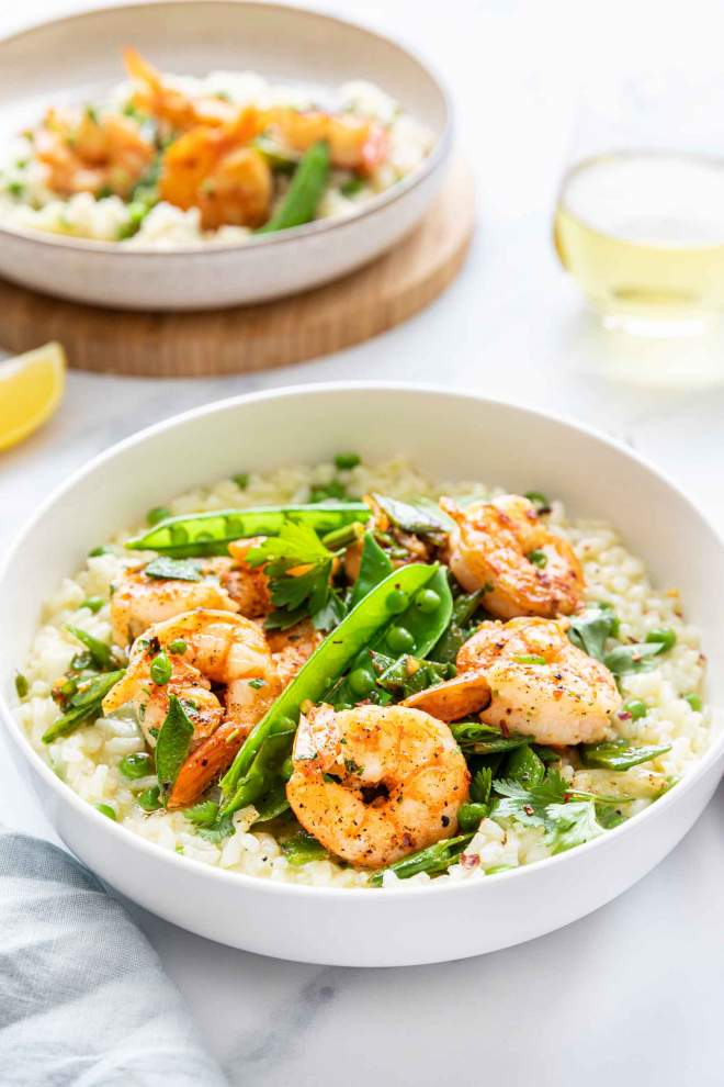 Creamy Pea Risotto with Shrimp