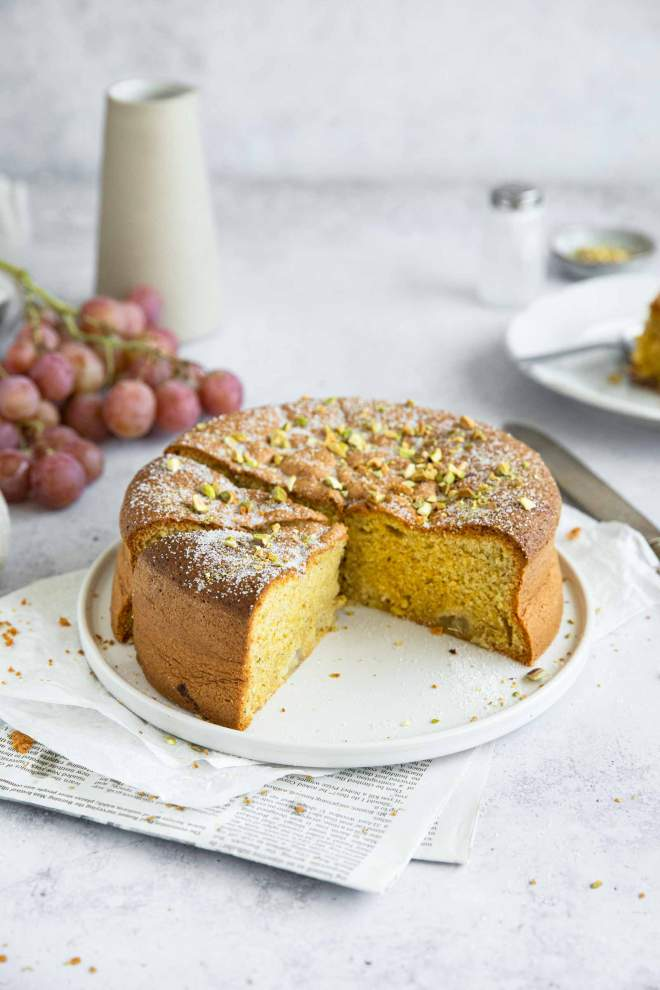 Pistachio Polenta Cake with Olive Oil and Rosemary