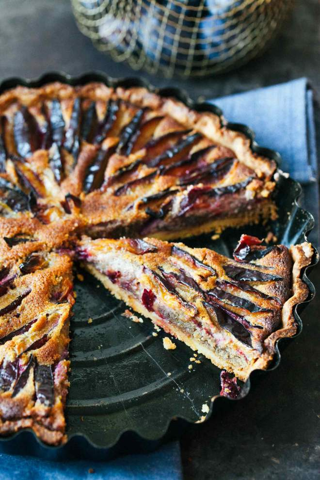 Plum walnut and honey tart