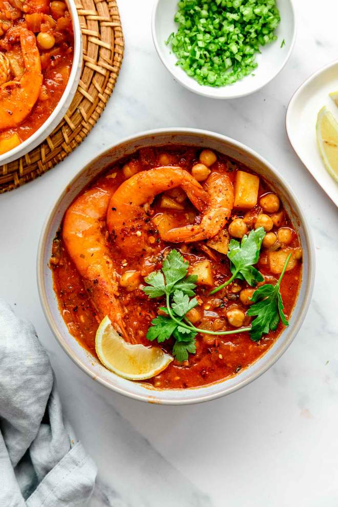 Shrimp Stew with Potatoes and Chickpeas