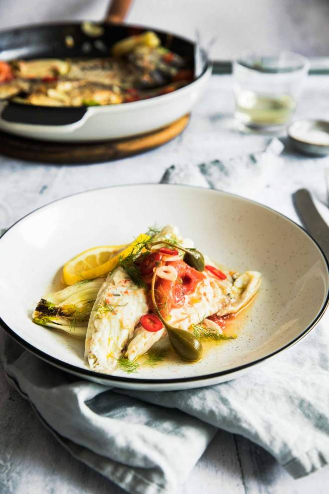 Mediterranean Sea Bream with Fennel and Cherry Tomatoes