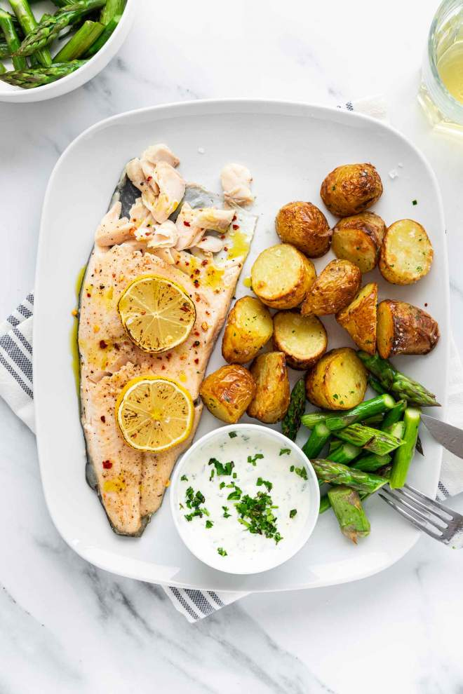 Sheet Pan Trout Asparagus and Potatoes