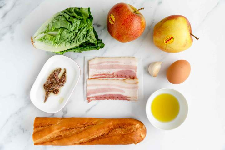 Ingredients for Bacon Caesar Salad with Apples