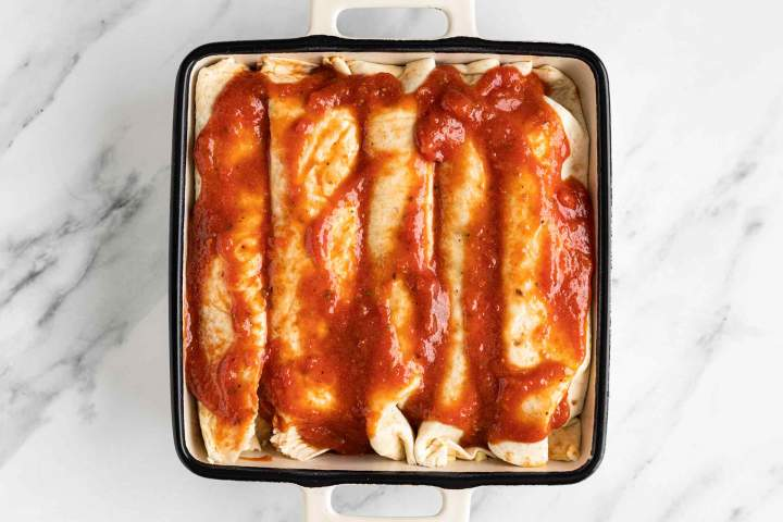 Enchiladas with homemade salsa