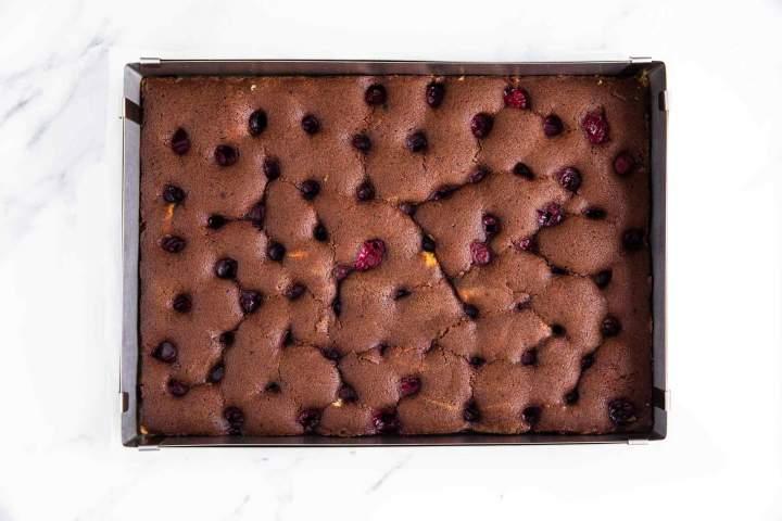 Baked cake batter Donauwelle (Snow White Cake)