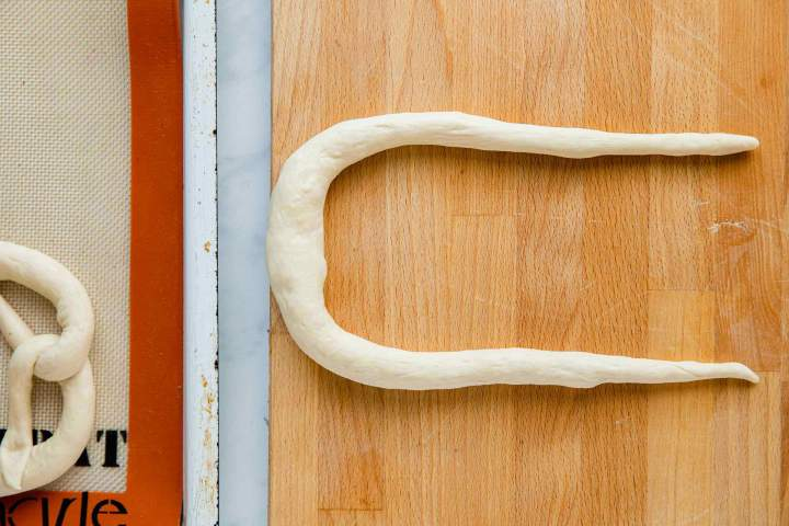 Shaping Bavarian Pretzels into a rope