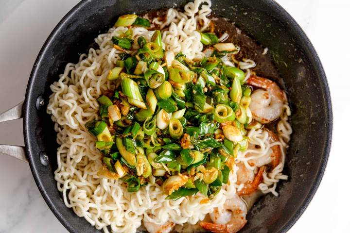 Ginger Scallion Noodles with Shrimp in the making
