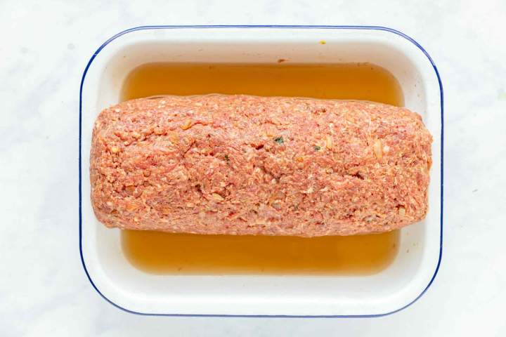 Egg stuffed meatloaf before baking