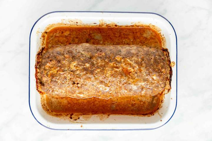 Egg stuffed meatloaf roasted