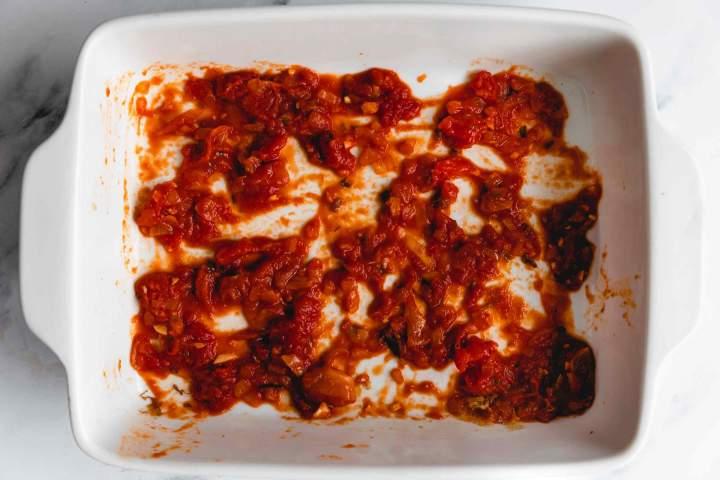 tomato sauce for Eggplant Parmesan (Melanzane alla Parmigiana)