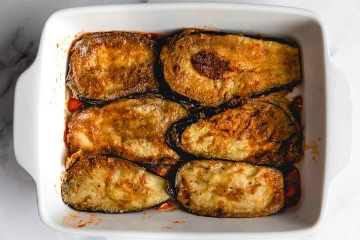 making of Eggplant Parmesan (Melanzane alla Parmigiana)