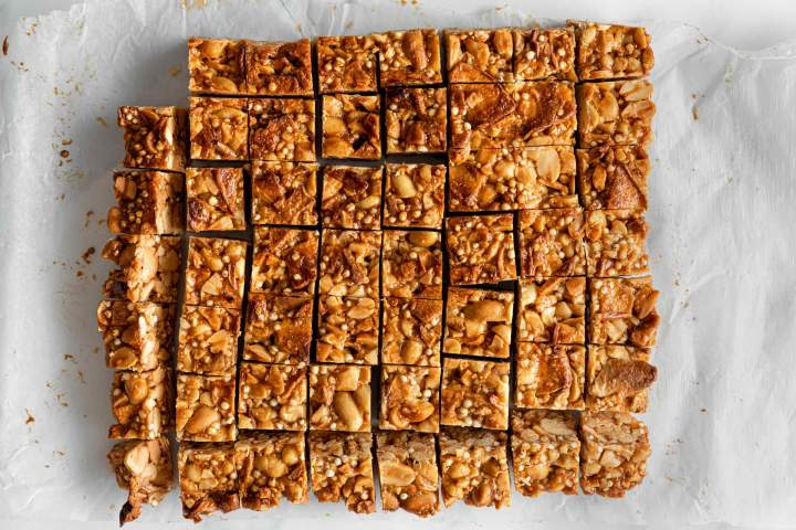 Peanut Butter Nut Clusters cut into cubes