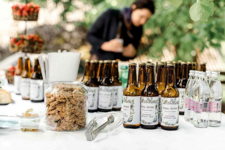 Our intimate spring wedding beer bottles and reception by jernejkitchen.com