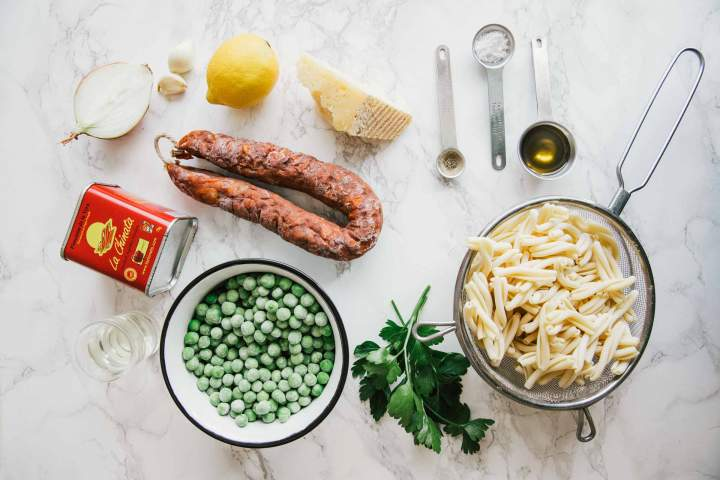 Ingredients for Pea Pasta with Chorizo (spicy sausage)