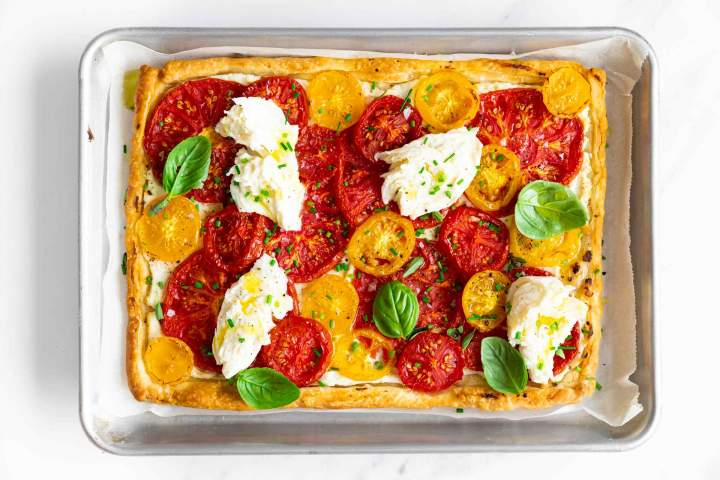 Freshly baked Puff Pastry Tomato Tart with Mozzarella