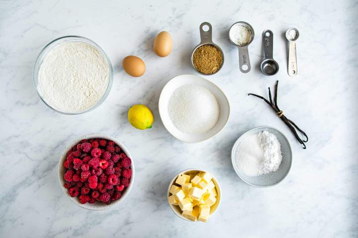 Ingredients for Raspberry Crumble Bars