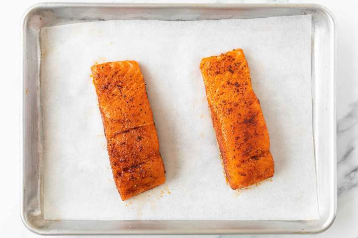 seasoned salmon before roasting
