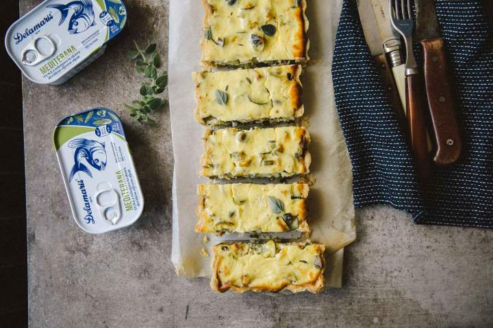 Seasonal Vegetables and Tuna Mediterana Tart with Creamy Ricotta and Yogurt Topping