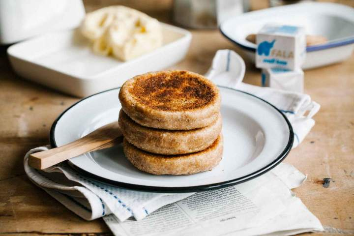 Spelt english muffins freshly baked