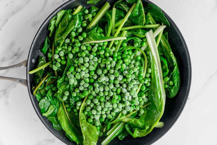 Sauteed Swiss Chard with Peas before done