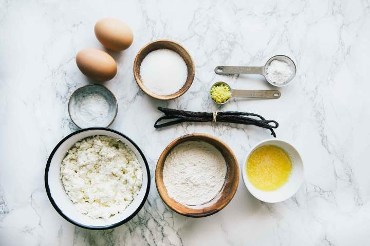 Ingredients for Sweet Lemon Ricotta Fritters