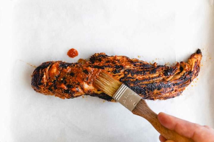 Preparing pork tenderloin for tacos al pastor