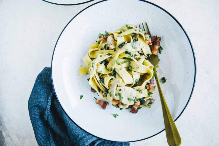 Tagliatelle with Mushrooms, Kale and Pancetta