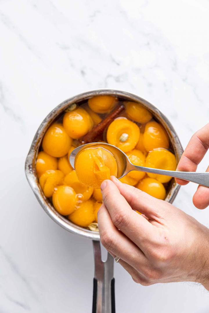 peeling apricots for Apricot Compote