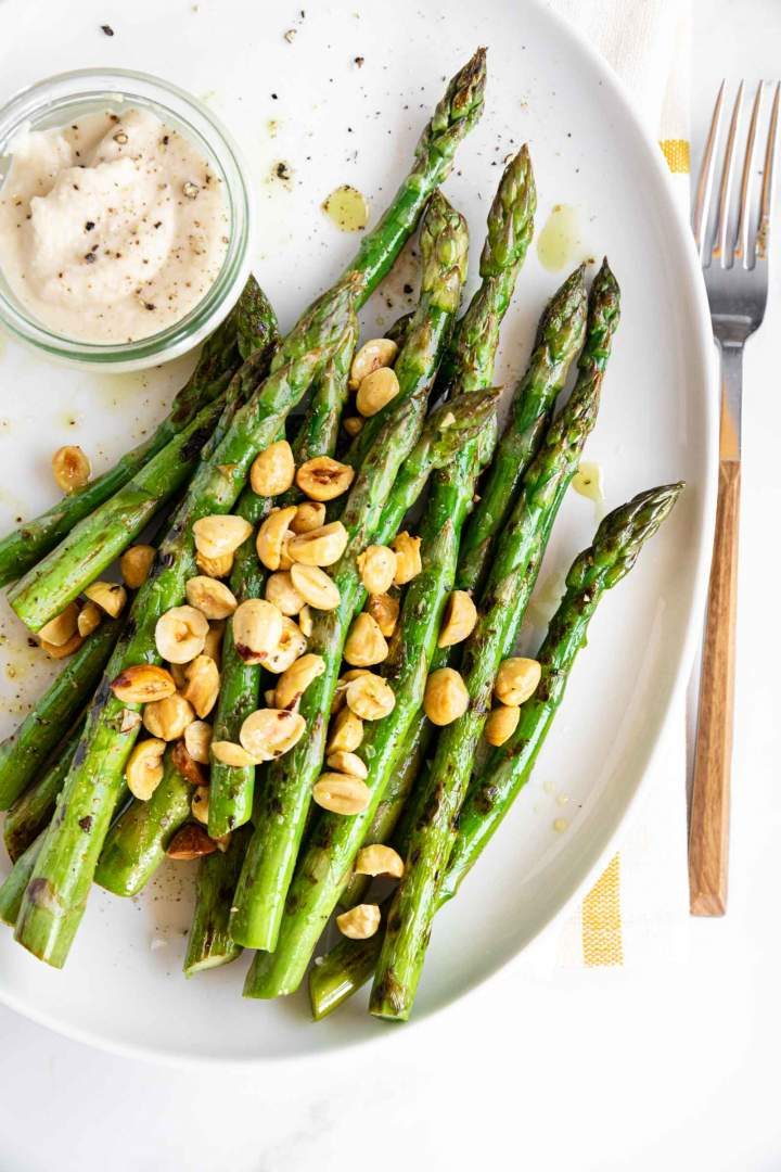 Grilled Asparagus with Hazelnuts and White Beans
