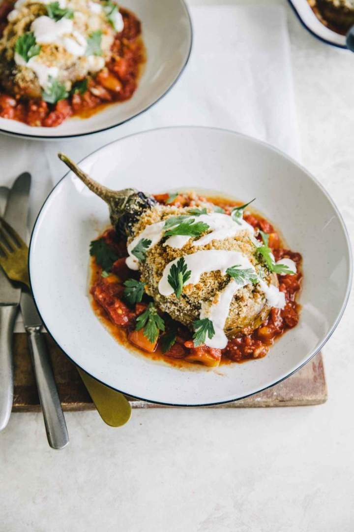 Eggplant with buckwheat, feta cheese and tomato sauce  | jernejkitchen.com